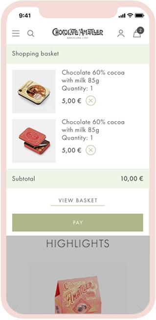Chocolate Amatller Mobile web